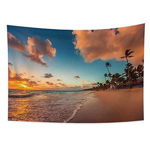 Miueapera Tapiz de puesta de sol Tapiz de mar Tapiz de palma Tapiz de playa de la costa Tapiz de orilla de mar Tapiz tropical Sala de estar Dormitorio Dormitorio Decoración del hogar 100x70cm