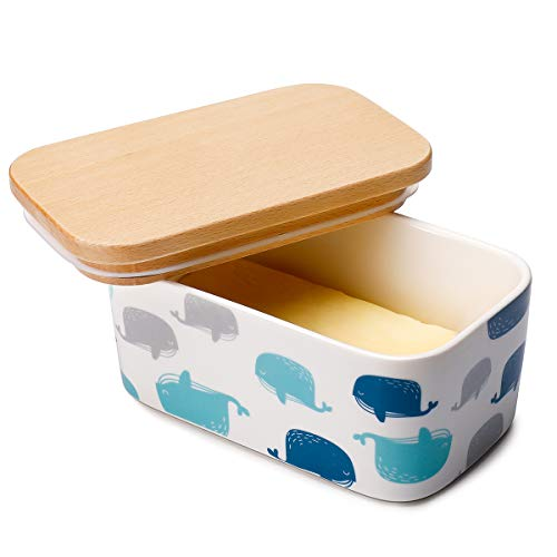 Sweese 303.235 Butter Dish - Porcelain Keeper with Airtight Beech Wooden Lid, Holds Up to 2 Sticks of Butter, Whale