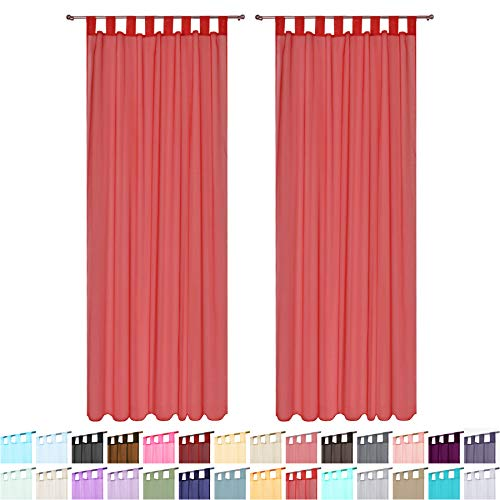 Megachest lucy Woven Voile Tab Top Curtain 2 Panels with ties (28 colors) (red, 56' wideX81 drop(W142cmXH206cm))