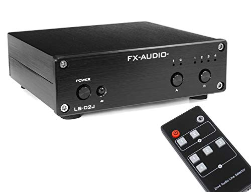 FX-AUDIO- LS-02J [ブラック]リモコン対応 2:4 Multiple Audio Line Selector RCA 切替器 セレクター