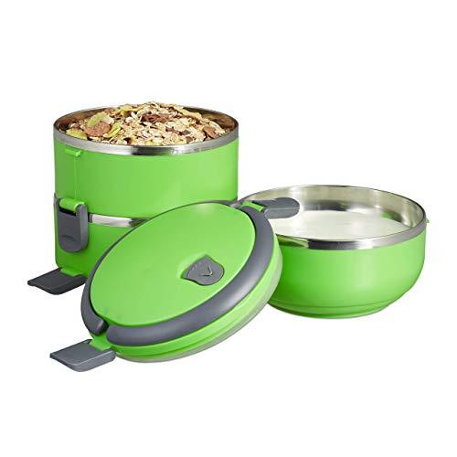Relaxdays Lunchbox, 3 Fächer, Einsätze aus Edelstahl, obere Lunchdose auslaufsicher, rund, für Vesper und Snacks, grün