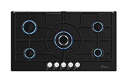 Empava 36 Inch Gas Cooktop NG/LPG Convertible with 5 Italy Sabaf Sealed Burners Tempered Glass in Black