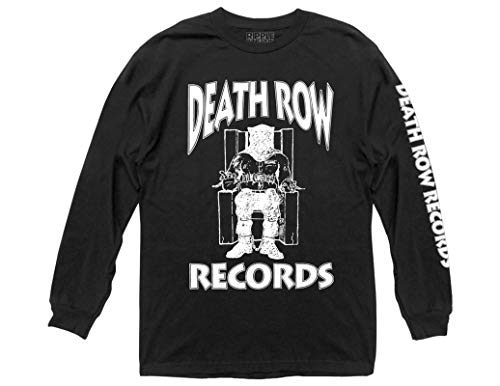 Ripple Junction Death Row Records Adult Unisex White Logo with Sleeve Hit Heavy Weight 100% Cotton Long Sleeve Crew T-Shirt XL Black