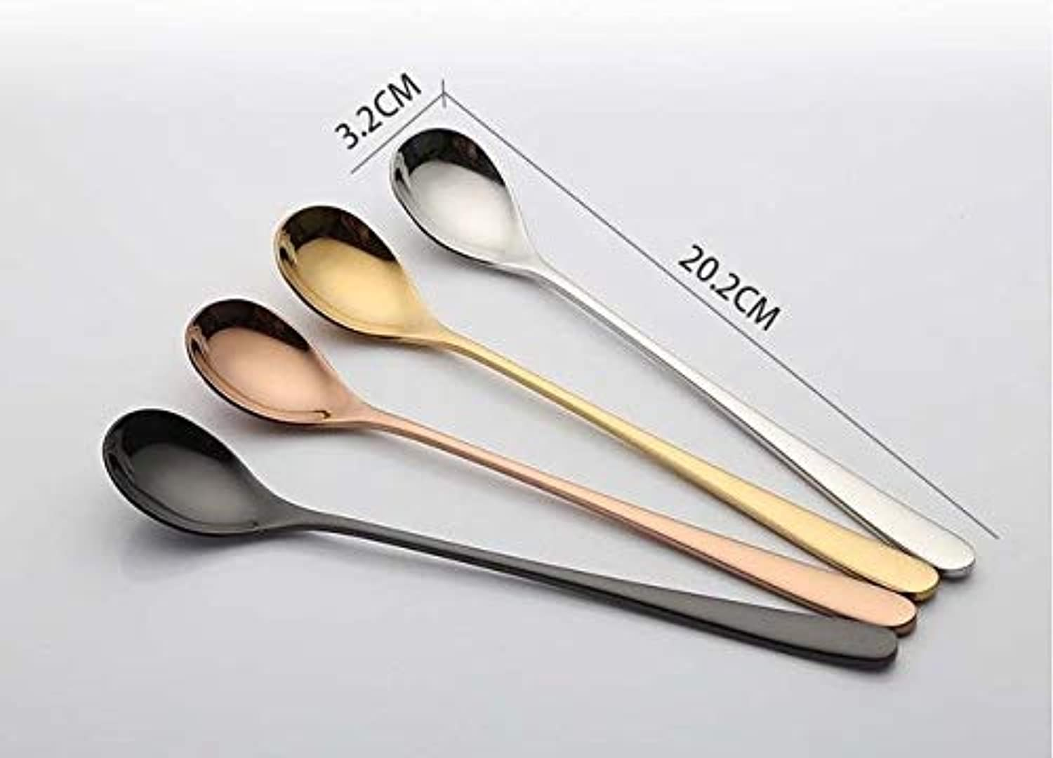Farmerly 2pc lot Korean Ice Spoon Set Long Handled 18 8 Stainless Steel Luxury golden Dessert Spoons Set for Snack Mixing Scoop Tableware   4mixcolor