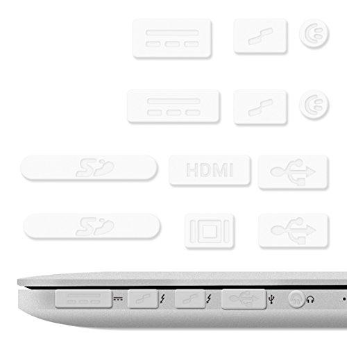 kwmobile 12x tappini compatibile con Apple MacBook Pro 13  15  Retina Air 11  13  (da metà 2011 - metà 2016) - protezione antipolvere in silicone per porte e ingressi - gommini in trasparente