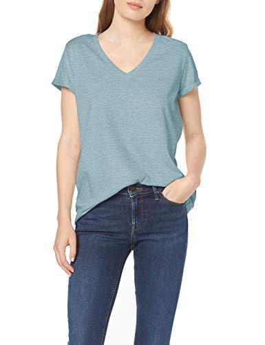 Lee V Neck tee Camiseta, Azul Oscuro, S para Mujer