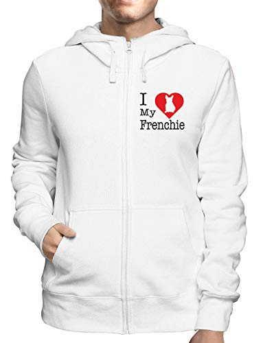 Sudadera con Capucha Zip Blanco WTC1693 i Love my Frenchie