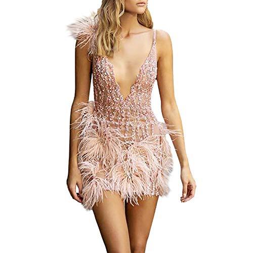 Damen Glitzer Partykleid Elegantes,Festliche Kleider Frauen Mode Tief V Ausschnitt Ärmel Pailletten Kleid Lässig Partykleid Federkleid Abendkleider