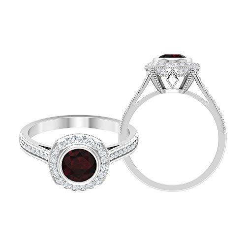 Anillo de granate solitario de 1,41 quilates, anillo de compromiso con halo de diamante HI-SI, anillo de piedra lateral de oro, 18K Oro blanco, Size:EU 60