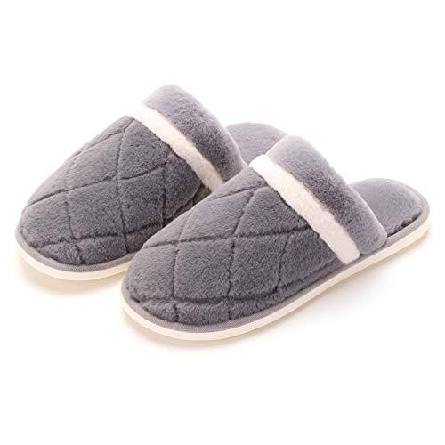 B/H Antideslizante Interior Zapatillas,Zapatillas de algodón cálido de Invierno, Zapatillas de Piel Antideslizantes de Interior-Gris_43-44,Mujer Zapatillas Peluche Mujer