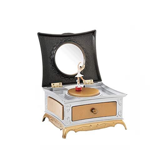 Caja de Música Música clásica europea caja giratoria de la niña ballet La caja de música creativa Nostálgico Música Caja de regalo de cumpleaños Cajas Musicales decoración ( Color : Gold )