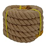 Twisted Manila Rope Jute Rope (1.5 in x 20 ft) Natural Thick Hemp Rope for Boat Deck, Railings, Climbing, Decorating