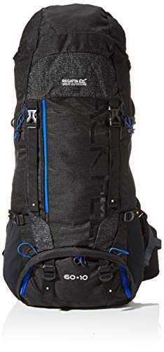 Regatta Blackfell 3 Mochila extensible reflectante resistente de viaje senderismo, Unisex adulto, Mochila, EU187 2BY000, Negro/Surfspray, 60 + 10 Litre
