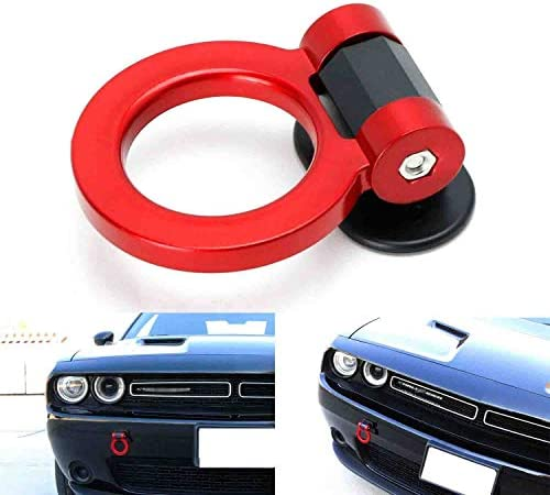 iJDMTOY Red Universal Ring Track Racing Style Tow Hook Aesthetic Decoration Kit Compatible With Any Car SUV Truck (Not Functional, Decorative Purpose ONLY)