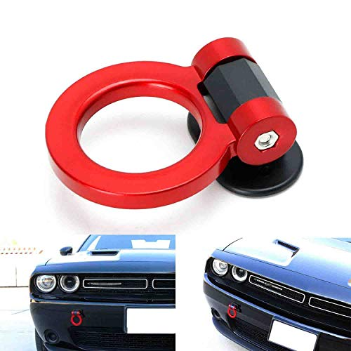 Dewhel JDM Aluminum Track Racing Front Rear Bumper Guard Car Accessories Auto Trailer Ring Hook Eye Towing Tow Hook Kits Anodized Neo Chrome Screw On For BMW 1 3 5 Series X5 X6 E36 E39 E46 E82 E90 E91 E92 E93 E70 E71 MINI Cooper TH-EU001
