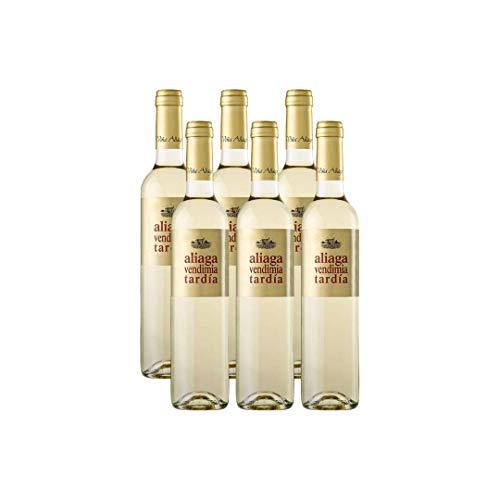 Aliaga Vendimia Tardía Muscat Petit Grain 2019 (Pack de 6 botellas). Vino blanco dulce de Navarra de la Bodega Viña Aliaga. 100% Moscatel de Grano Menudo. 500ml
