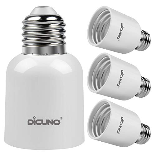 DiCUNO E26 to E39 Adapter, Medium E26 to Mogul E39 Screw Base Light Bulb Socket Converter, Maximum 300W and 165℃ Heat Resistant 4Pcs