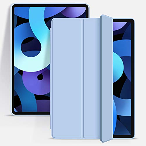 ZOYU iPad Air 4 Case 2020,Slim Lightweight Trifold Stand Smart Shell,Support Apple Pencil Charging & Pair,TPU Soft Silicone Cover with Auto Wake/Sleep for iPad 10.9 inch Air 4th Generation-Light Blue