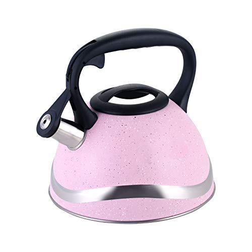 Flötenkessel, 3,5 Liter rosa Edelstahl-Wasserkessel mit Verbrühschutzgriff, ungiftiger Retro-Teekessel, geeignet für Gasherd, Elektroherd, Induktion