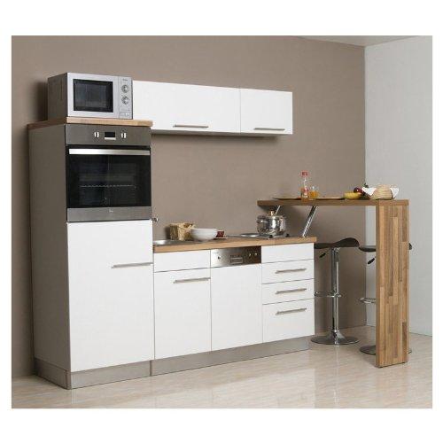 Mebasa Mcck100Bwt Küche, Moderne Küchenzeile, Hochwertige Einbauküche 200 Cm, Küche Inkl. Einbaugeräte - Einbaukühlschrank A +, Einbaubackofen, (Silbergrau - Weiß)