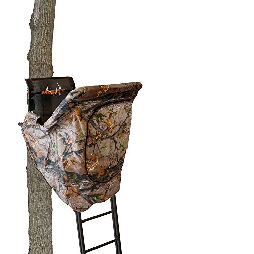 Muddy MLS1550B The Skybox Deluxe Steel Constructed 20 Foot 1 Person Hunting Tree Stand with Adjustable Seat and Blind Kit Included