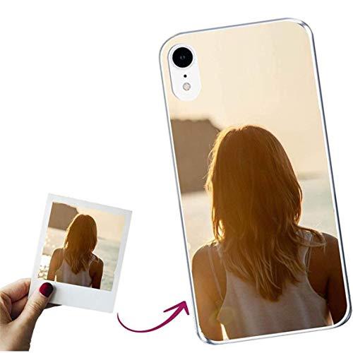 Mookase Funda para iPhone XR Personalizada para TU MÓVIL con Imagen O Texto, Carcasa Personalizable, Gel Flexible, Borde Trasparente, Regalo Original