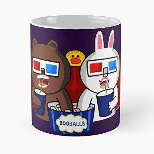 Cartoon Whatsapp Funny Emoticon Bear Line Conie Cony La Mejor Taza de café de cerámica de mármol Blanco de 11 oz