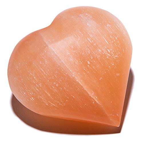 KALIFANO Orange Heart Selenite Worry Stone with Healing & Calming Effects - High Energy Palm Stone Used for Cleansing and Protection (Information Card Included)