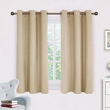 NICETOWN Room Darkening Draperies Window Curtain Panels, Thermal Insulated Grommet Room Darkening Curtains for Bedroom (Cream Beige, 2 Panels, W42 x L54 -Inch)