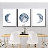 NR Mondphasen Poster drucken Vollmond Halbmond Wand Kunst Leinwand Gemälde Nachthimmel Raum Galaxy Astronomie Bilder Wand Dekor (40 x 50 x 3 Stück cm ohne Rahmen)