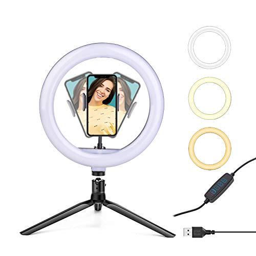 Luce ad Anello 10.2 Pollici EVAYLIOX 26CM Ring Light di 3 Colori 11 Luminosità Dimmerabile Anello Luminoso con Treppiede da Tavolo per Tik Tok Foto Selfie Streaming Live Youtube Trucco Video