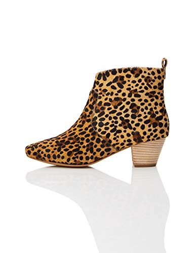 find. Leather Casual Western Stiefeletten, Braun Leopard), 40 EU
