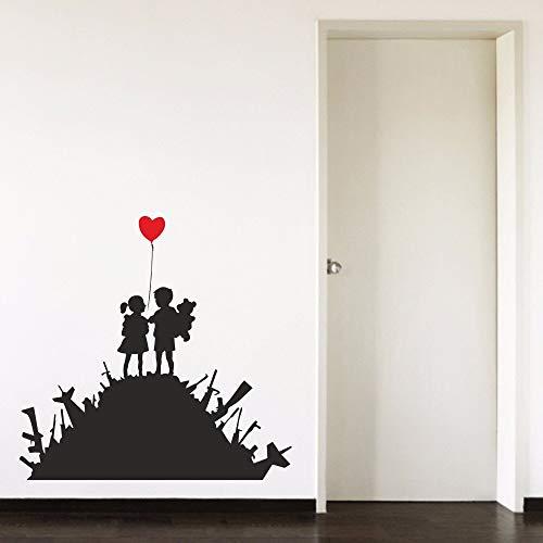 ASFGA Banksy Boy Girl Balloon Love Red Heart Baby Room Pareja Dormitorio Calcomanía Vinilo Arte Sala de Estar Comedor Torre de la Esquina Etiqueta de la Pared Autocollant Mural 84x86cm