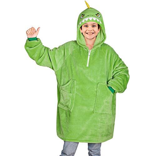 Basumee Pullover Decke Kinder Oversize Hoodie Decke Sweatshirt Decke Kapuzen TV Kuscheldecke für Jungen mit Ärmel und Tasche aus Polyester Plüsch,8 Jahre