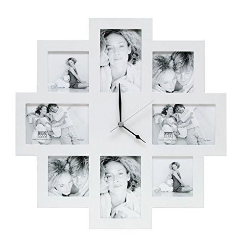 Deknudt Frames S65SM1 Fun & Deco 0x0 Bilderwandrahmen mit Uhr, Weiss, 4X(10x10)+4X(10x15) Holz Fun & Deco