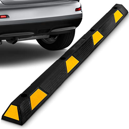 Curb Parking Garage Floor Stopper - 72 Inch Extra Wide Heavy Duty Rubber Parking Lot Stopper, for Vehicles Truck Driveway, Protect Pumpers From Cars Vans Trucks - Pyle PCRSTP14,Black