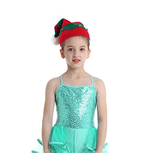 Freebily Chapeau Noël Unisexe Enfant Tricotée Pull de Vacances de Noël Bonnet de Noël Fille Garçon Lutin Casquettes Chaud Crochet Hiver 1-6 Ans Rouge&Vert 1-6 Ans