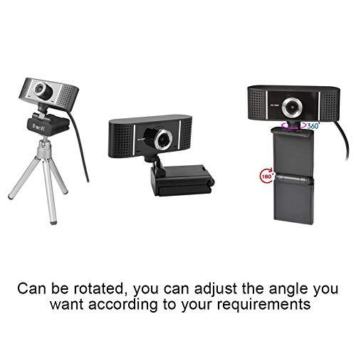 1080P webcam, draaibare USB-camera met hoge resolutie zonder drive, handmatige scherpstelling, computercamera webcamera PC-webcam voor videochat, onderzoekscontrole en videoconferenties