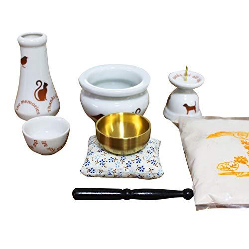 ペット供養 ミニ仏具 5点セット アニマル柄 花器 香炉 ろうそく立て 水入れ おりん (こりん)つき ブラウン 香炉灰 つき ペット仏具