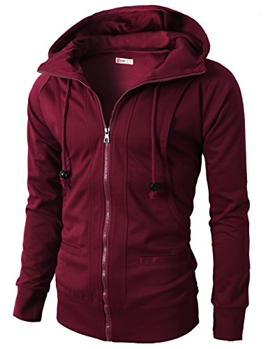 H2H Mens Slim Fit Casual Fleece Active Elastic Hoodie Zip-Up Maroon US S/Asia M (KMOHOL019)