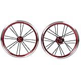Aigend Juego de Ruedas: Bicicleta Plegable de 14 Pulgadas Freno en V Juego de Ruedas Individuales de Diente de Acero 9T Juego de Ruedas pequeñas para Juego de Ruedas de Bicicleta con Freno en V(Rojo)