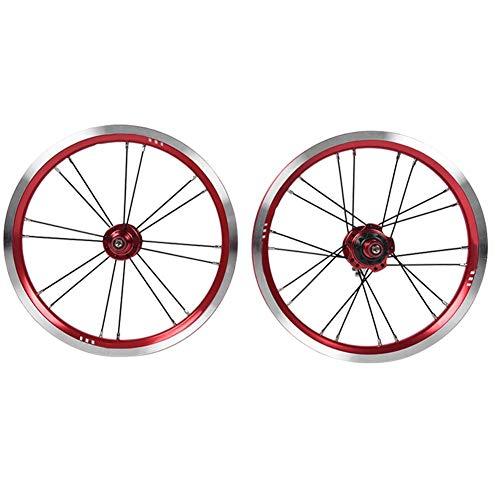 Aigend Juego de Ruedas: Bicicleta Plegable de 14 Pulgadas Freno en V...