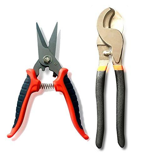"""NUZAMAS - Juego de 2 cortadores de cable eléctrico y alambre (25,4 cm y 6"""", cable de corte de alambre (8-16 AWG) / hasta 10 mm cuadrados"""