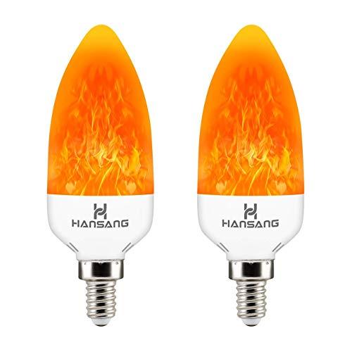 Hansang E12 LED Flame Effect Light Bulb,3 Watt Flickering Fire Bulbs,Creative Decorative Candelabra Bulbs,Emulation Flame Light for Chandelier Decoration,Vintage Lighting 2 Pack