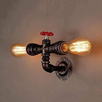 Liunce Creative 2-Lights Industrial Iron Metal Wall Lamp Retro Edison E27 Water Pipe Wall Sconce Antique Steampunk Wall Light American Rustic Loft Bar Aisle Wall Lantern