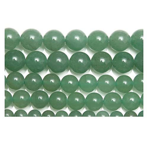 HETHYAN Cuentas sueltas redondas de aventurina de piedra natural verde de 15 pulgadas, hebra 4, 6, 8, 10, 12, 14 mm, tamaño de selección para hacer joyas (tamaño: 12 mm, 31 a 32 piezas)