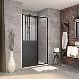 Aurlane PACF002 - Juego de mampara de ducha, color negro