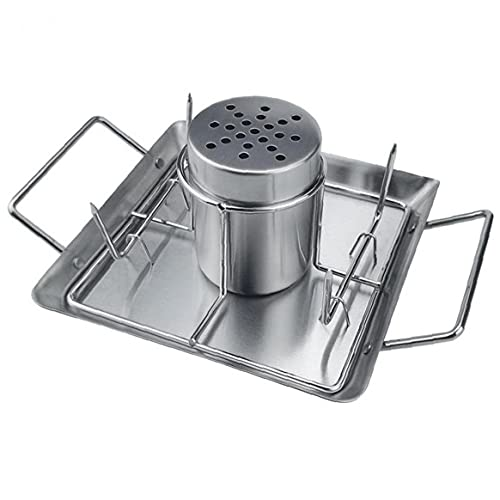 Froiny Beer Can Chicken Roaster Rack Stainless Steel Chicken Griller Holder Bbq Accessories with 2 Vegetable Skewers and Drip Pan