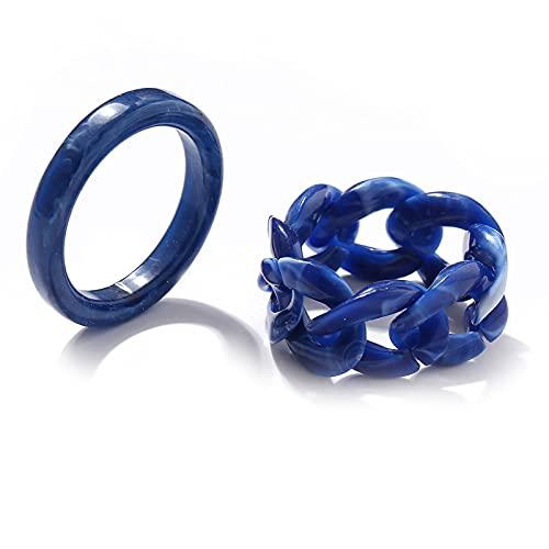 Larancie Set di anelli minimalisti Anelli per nocche in resina blu Boho Impilabile Anello per dito per pollice Anello per mano Gioielli per donne e ragazze 2 pezzi