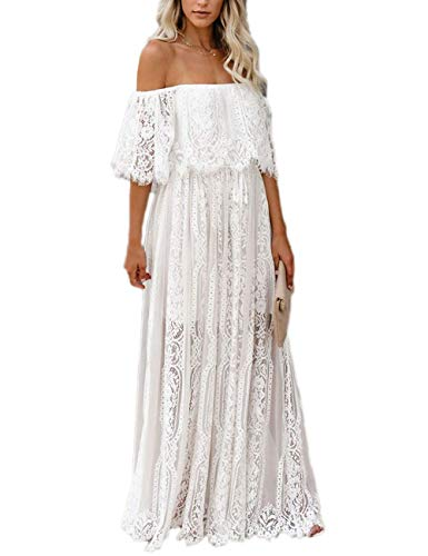 Ecosunny Women's Deep V Neck Short Sleeve Floral Lace Bridesmaid Maxi Dress Party Gown (XL, White Off Shoulder) (Apparel)